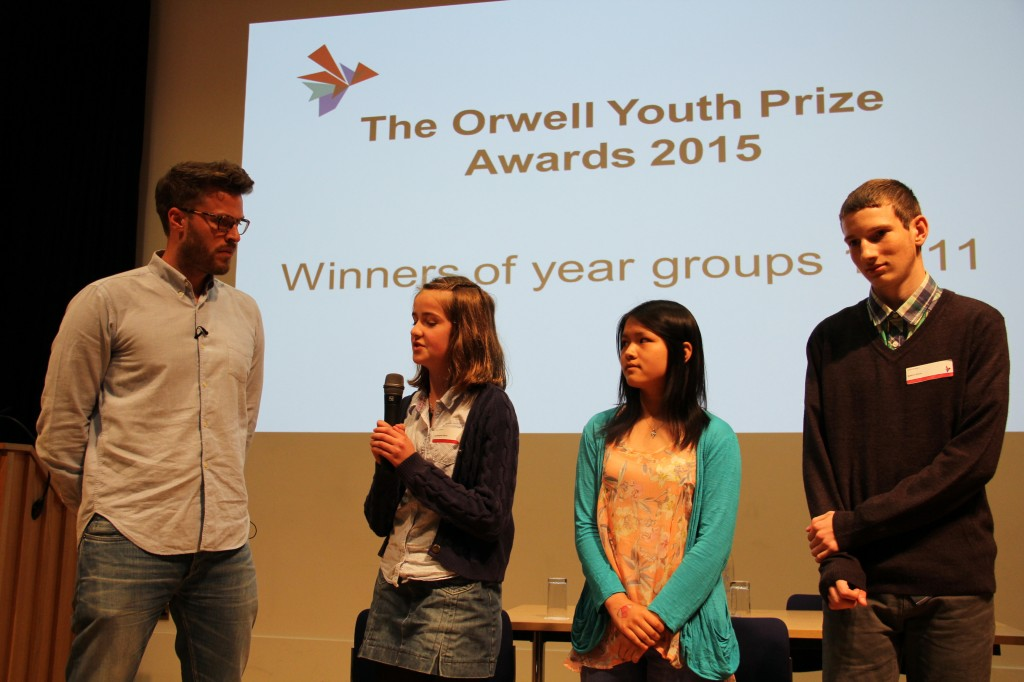 Rick Edwards interviews the three winners in the younger age category